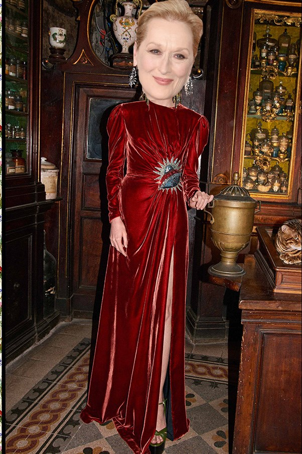 <strong>Meryl Streep</strong><br><br> While the iconic actor isn't particularly brand loyal, she is silhouette loyal. Long sleeve? Tick. Accentuated shoulder? Tick. Side gathering (or wrap)? Tick. This Gucci pre-fall look covers all bases.