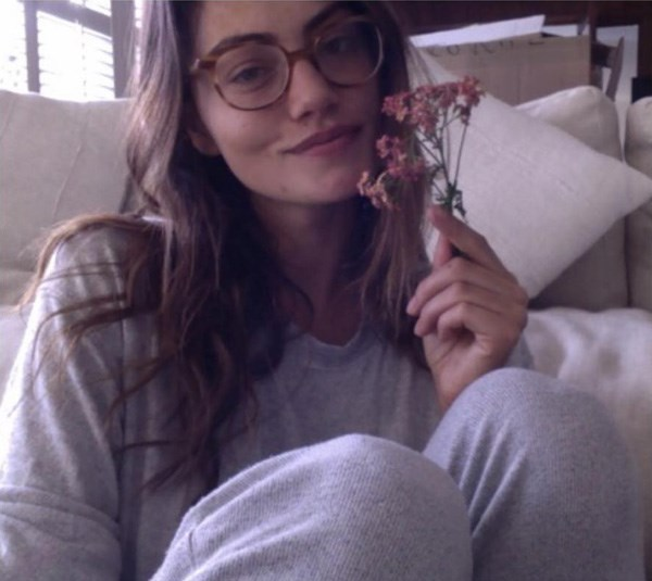 "<strong>Phoebe Tonkin</strong> <BR><BR> ""💕💕 I don't love this very corporate holiday, but I do love an awkward flower prop and a set of matching sweats (and I'm having a good hair day, okay? sue me) x love."""