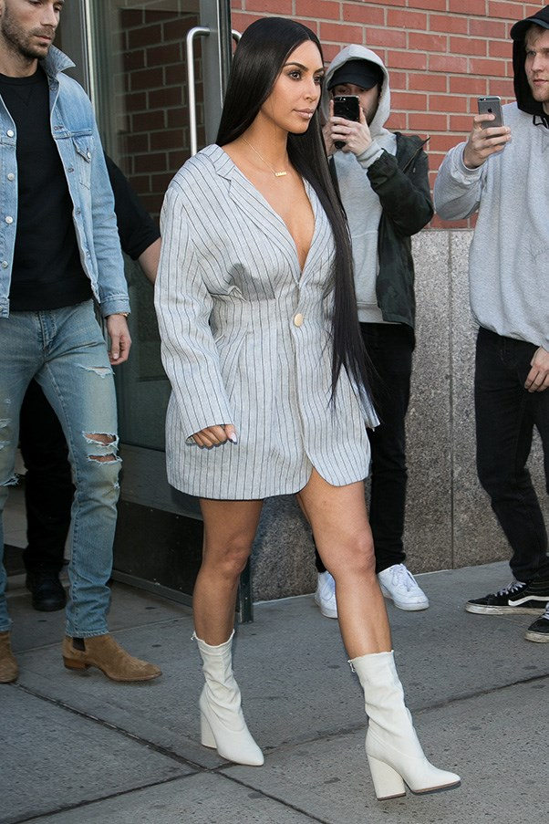 <strong>February 14th, 2017</strong><br><br> Kim wore ankle boots and a blazer as a dress while out in New York during fashion week.