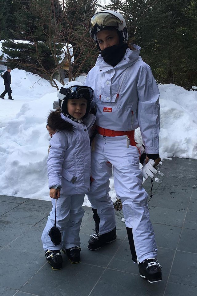 <strong>Victoria and Harper Beckham</strong> <BR><BR> Victoria Beckham shared this adorable photo from the Beckham's Canadian skiing holiday, showing young Harper wearing a white ski suit to match her designer mother's.