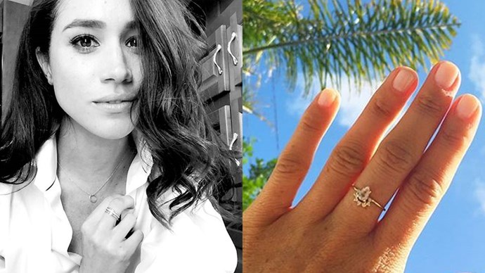 """<strong>Natalie Marie</strong><br><br> Meghan Markle can't stop wearing minimalist pieces by Australian jewellery designer <a href=""""http://www.nataliemariejewellery.com/"""">Natalie Marie</a>, and we can see why. Meghan wears the <a href=""""http://www.nataliemariejewellery.com/collections/necklaces/products/dotted-oval-necklace"""">dotted oval necklace</a>, $200 and <a href=""""http://www.nataliemariejewellery.com/collections/fine-rings/products/faceted-fine-band"""">faceted fine band</a>, $60 (left) and the <a href=""""http://www.nataliemariejewellery.com/collections/stone-rings/products/rose-morganite"""">rose morganite ring</a>, $1,525 (right)."""