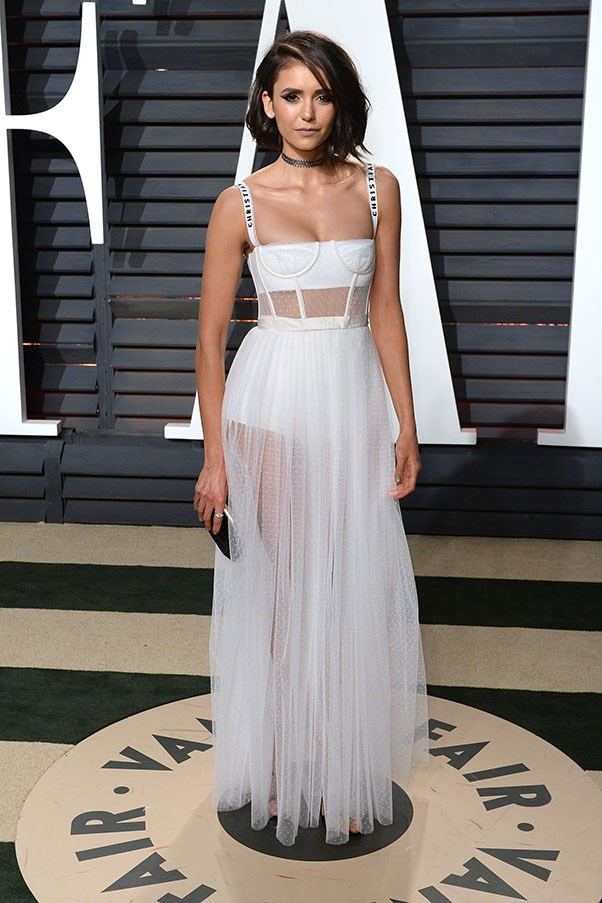 Nina Dobrev at the <em>Vanity Fair</em> Oscars after party, February 2017.