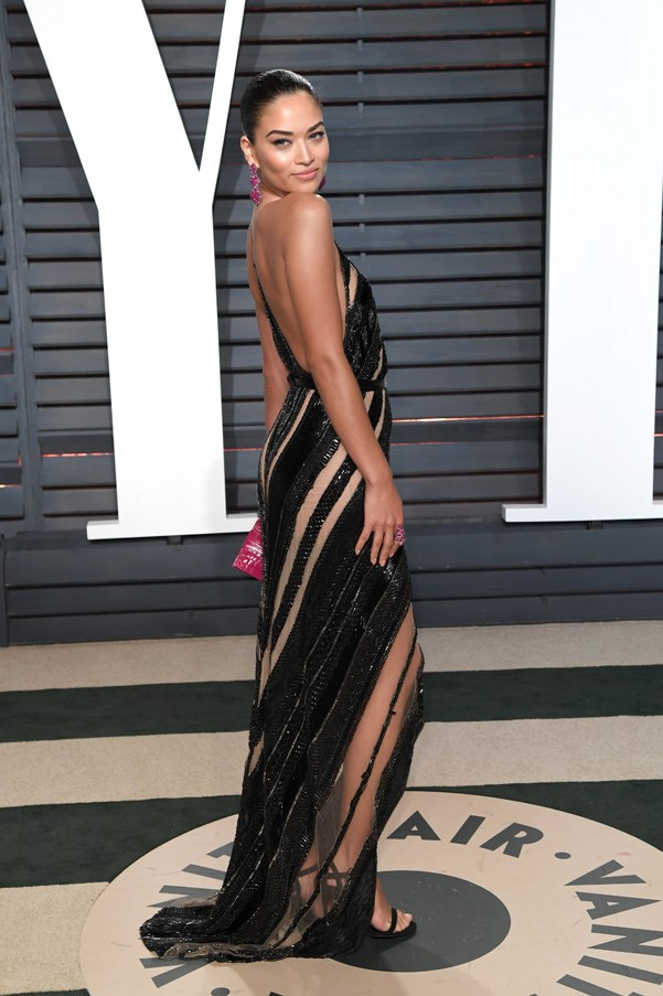 <strong>Shanina Shaik went for a sequined and sheer Kaufmanfranco gown</strong>