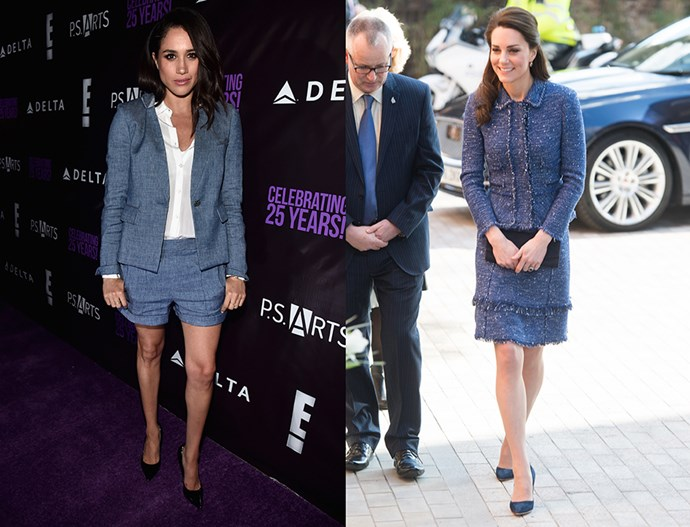 In blue two-piece short suits.