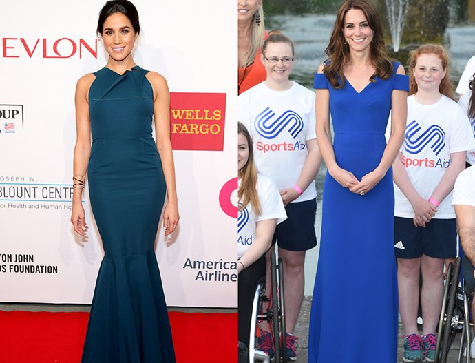 In blue column gowns with structural necklines.