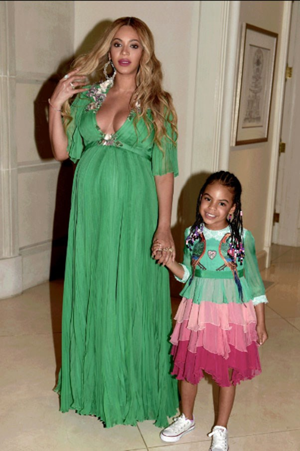 Beyoncé, her daughter Blue Ivy and husband Jay Z attended the premiere for Beauty and the Beast all dressed in head-to-toe custom Gucci.<br><br> Images: <em>Beyonce.com</em>