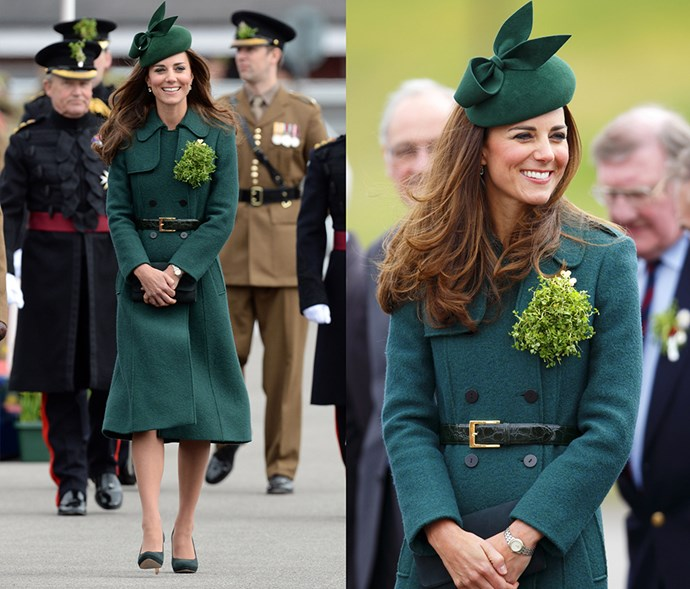 <em>Green</em> <p> We admit: wearing all-green for St Patrick's Day seems like a cliché, but we think we can forgive her in this forest green ensemble (with a real leafy brooch).