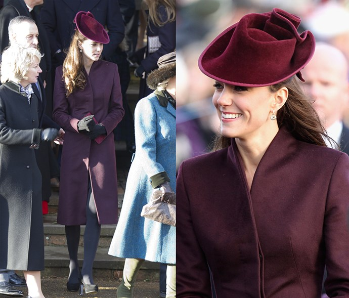 <em>Purple</em> <p> Did you think Kate wouldn't have had worn an all-purple outfit at least once in her life? Think again.
