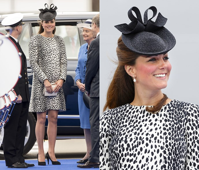 <em>Black (and white)</em> <p> As she rarely wears all black (except for commemoration ceremonies), Kate often offsets the colour with white, like in this spotted confection.