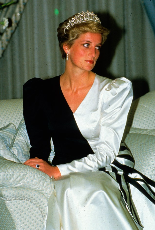 In a black and white gown by Emmanuels in Saudi Arabia, wearing the Cambridge Lover's Knot.