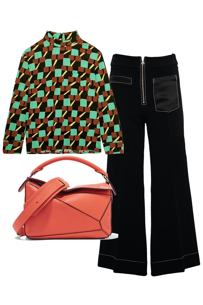 "Clockwise:<br><a href=""https://www.net-a-porter.com/au/en/product/863252/Prada/printed-crepe-turtleneck-top"">Top, $1,280, Prada at Net-A-Porter</a><br><a href=""https://www.theundone.com/products/elissa-mcgowan-whiteley-wide-leg-crop-pant"">Pants, $520, Elissa McGowan at The Undone</a><br><a href=""https://www.net-a-porter.com/au/en/product/815906"">Bag, $2,850, Loewe at Net-A-Porter</a>"