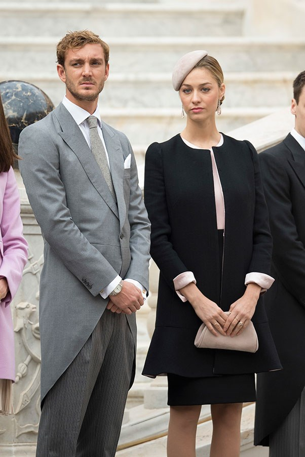 With husband Pierre Casiraghi at the Monaco National Day celebrations, November 2015.