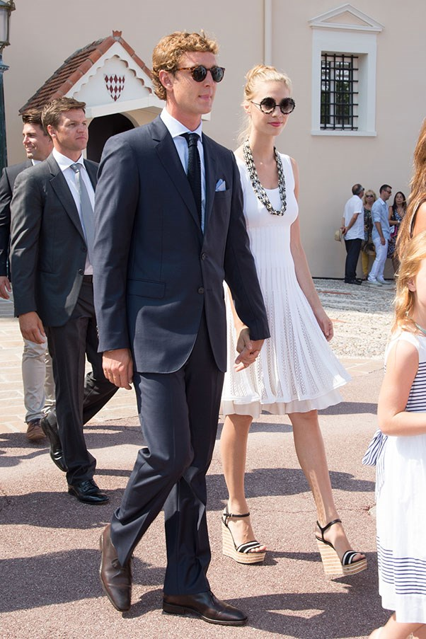 With husband Pierre Casiraghi at the Monaco Throne Celebrations, July 2015.