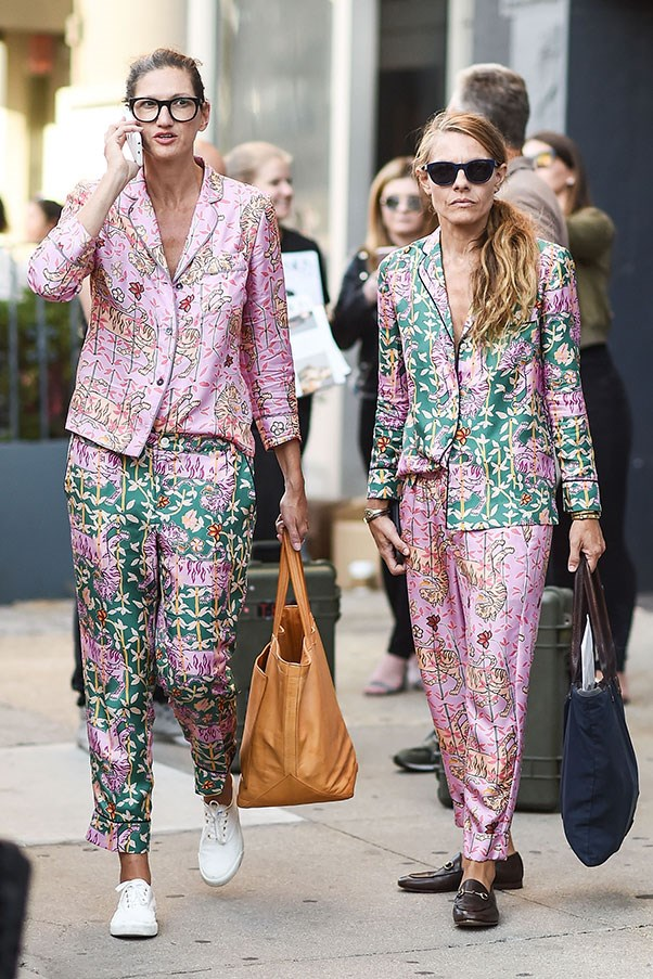 With partner Courtney Crangi in matching J.Crew suits at New York fashion week.