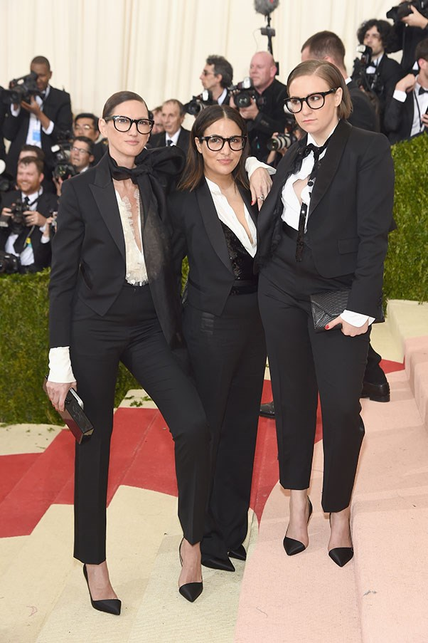 With Jenni Konner and Lena Dunam, all in J.Crew, at the Met Gala.