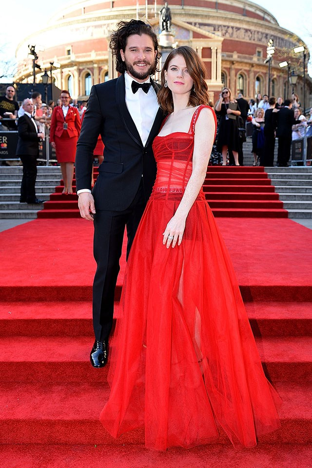 Rose Leslie and Kit Harington at the 2017 Olivier Awards in London, April 2017.