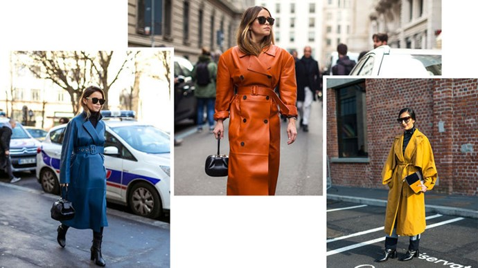 <strong>10. COLOUR CODE</strong> <p><p> The leather trench is never better than when it's done up in vibrant hues.