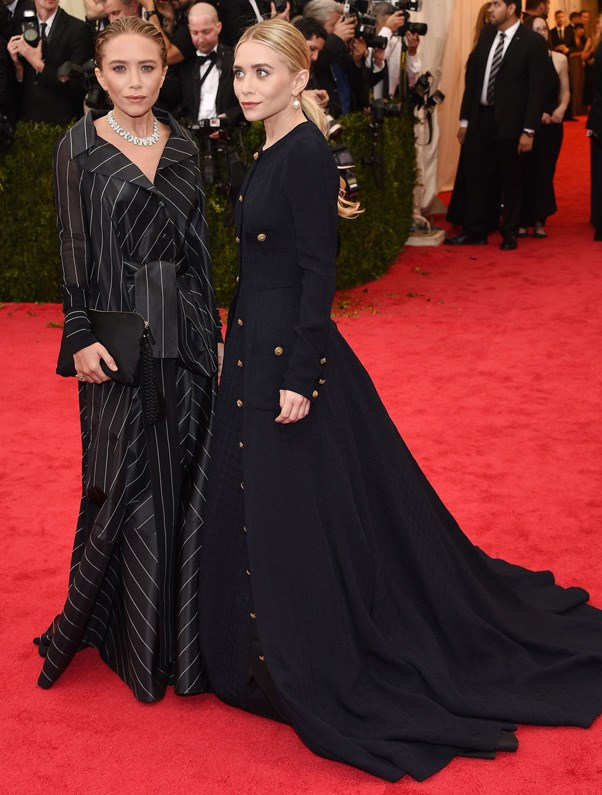 <strong>2014</strong> <br><br> When they put a tailored twist on red carpet glamour—Mary-Kate in striped Chanel, Ashley in military-inspired Gianfranco Ferré.