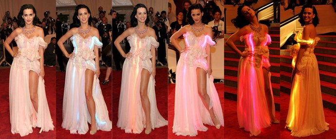 <strong>2010</strong> <br><br> When Katy Perry wore a cotton candy-colored confection of a dress that actually LIT UP.
