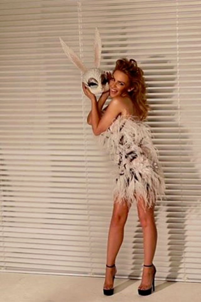"<strong>Kylie Minogue</strong> <p><p> ""Happy 🐰#lovers"" <p> Image: <a href=""https://www.instagram.com/p/BS7DzaZFFF0/"">@kylieminogue</a>"