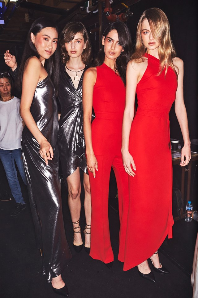 "Models pose backstage at the Carla Zampatti show.<br><br> <em>Image courtesy of <a href=""http://sonnyphotos.com/"">Sonny Vandevelde</a>.</em>"