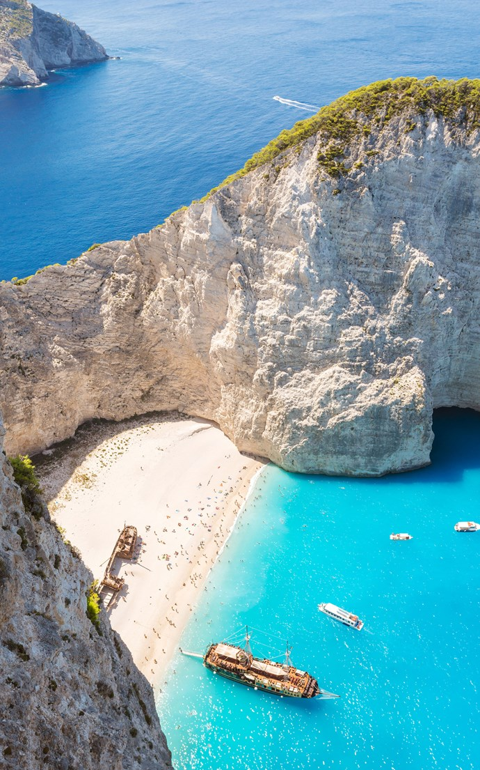 <p><strong>Navagio Beach, Greece</strong> <p>Located in a remote cove on Zakynthos in Greece's Ionian Islands, Navagio Beach gets its nickname—Shipwreck Beach—because of the ship that ran aground here in the 1980's.