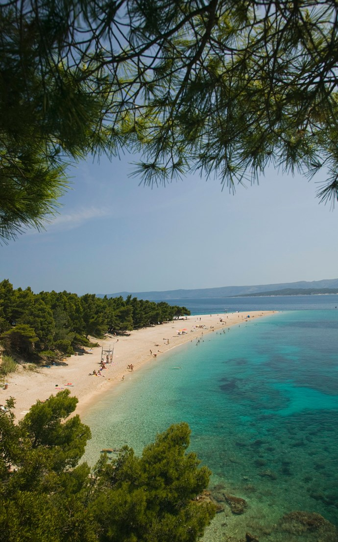 <p><strong>Zlatni Rat Beach, Croatia</strong> <p>Located on the southern coast of Brac Island, Zlatni Rat Beach is nicknamed the Golden Horn for its unusual shape that juts out into the Adriatic Sea.