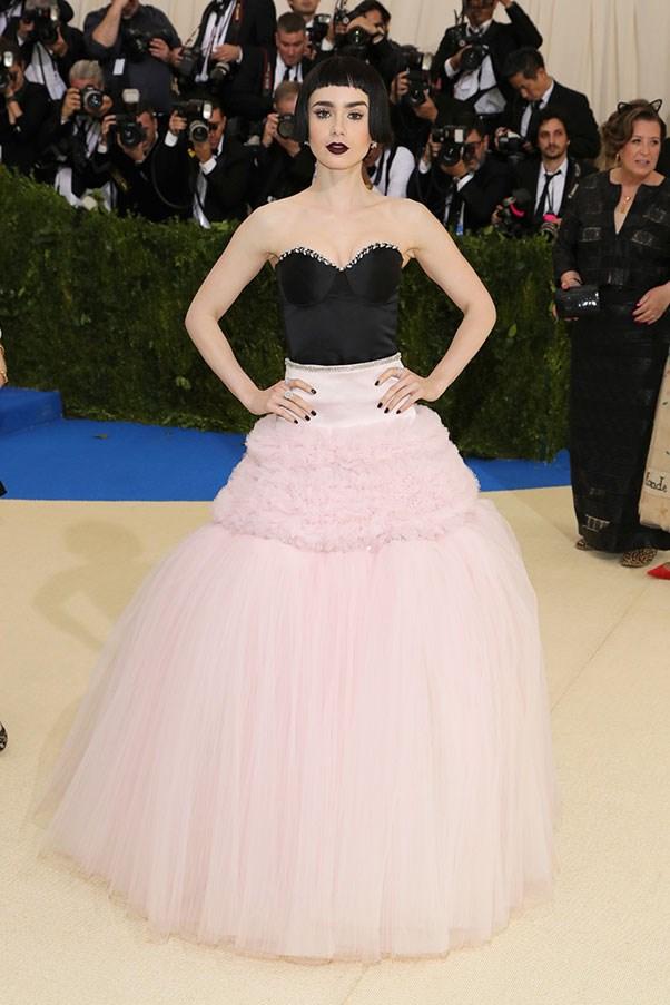 Lily Collins in Giambattista Valli and Tiffany & Co. jewellery