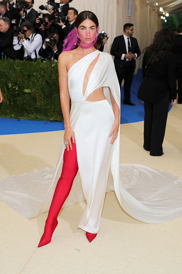 Lily Aldridge in a Ralph Lauren dress and Balenciaga boots
