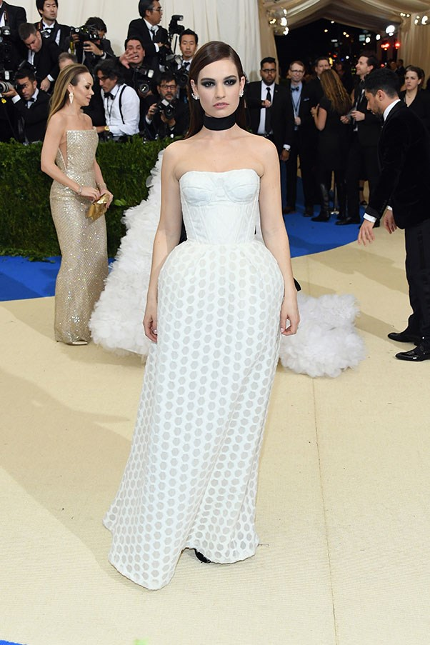Lily James in Burberry
