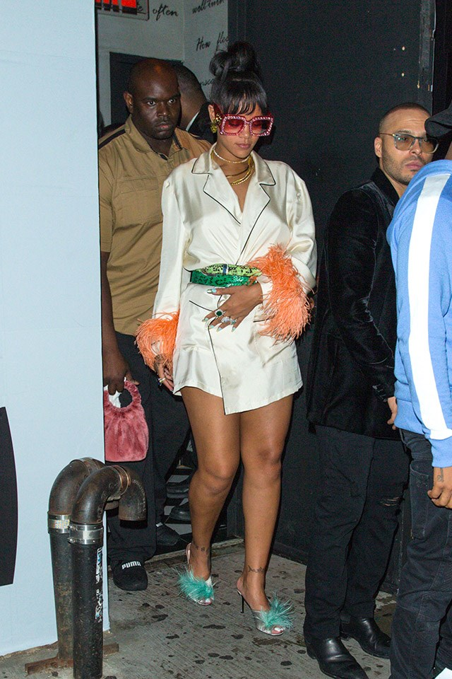 <strong>When:</strong> May 1 2017 <br><br> <strong>What:</strong> A silk pyjama-like ensemble, with contrasting snakeskin belts and oversized Gucci sunglasses at the Met Gala after party in New York City.