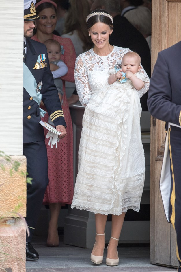 At the christening of her son, Prince Alexander. September, 2016.