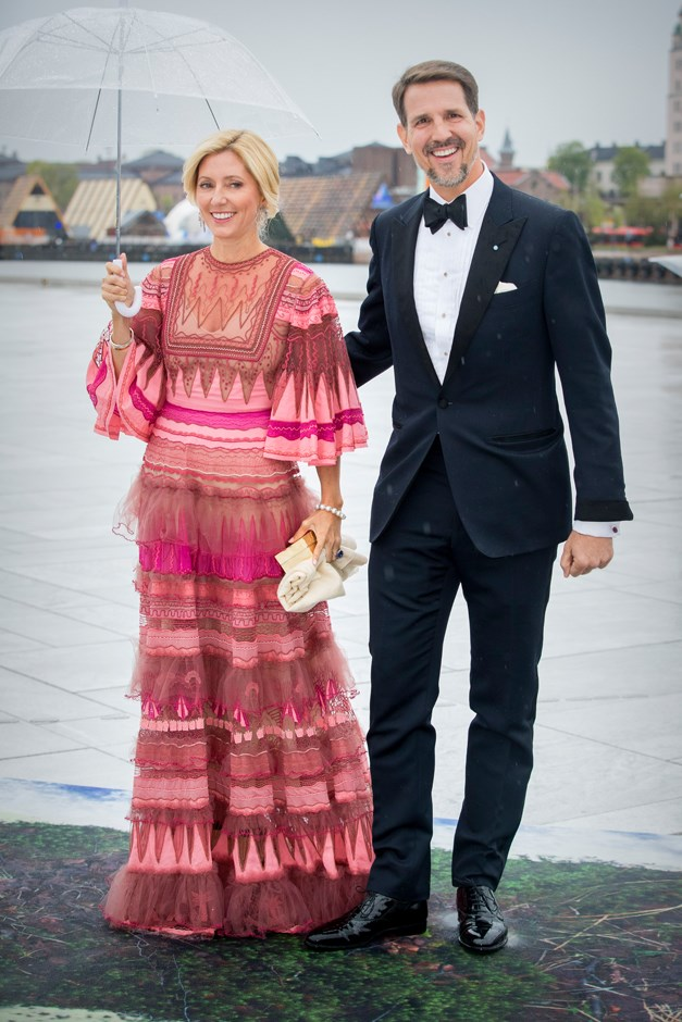 Princess Marie-Chantal of Greece, in Valentino, with Crown Prince Pavlos.