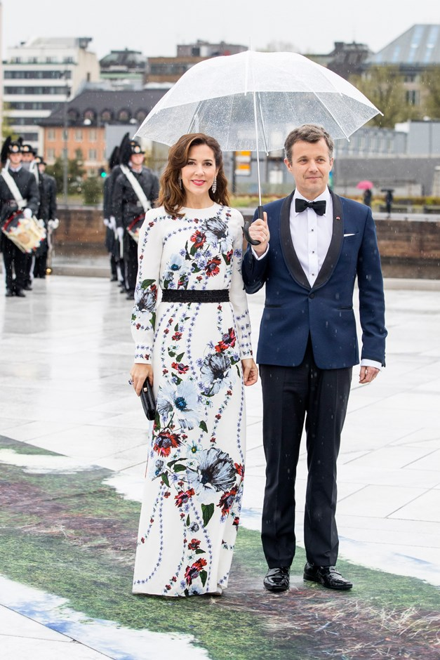 Mary, Crown Princess of Denmark, in Erdem, with Frederik, Crown Prince of Denmark.