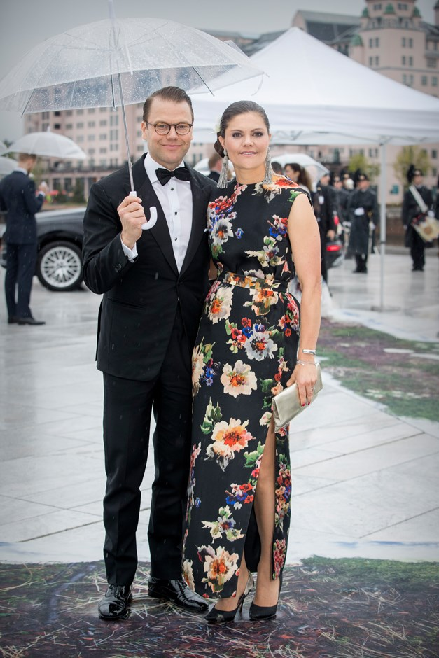 Crown Princess Victoria of Sweden, in Acne, and Prince Daniel of Sweden.