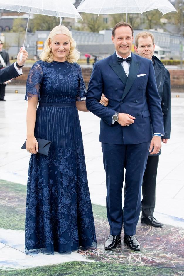 Crown Princess Mette-Marit of Norway, in Marte Krogh, and Prince Haakon.