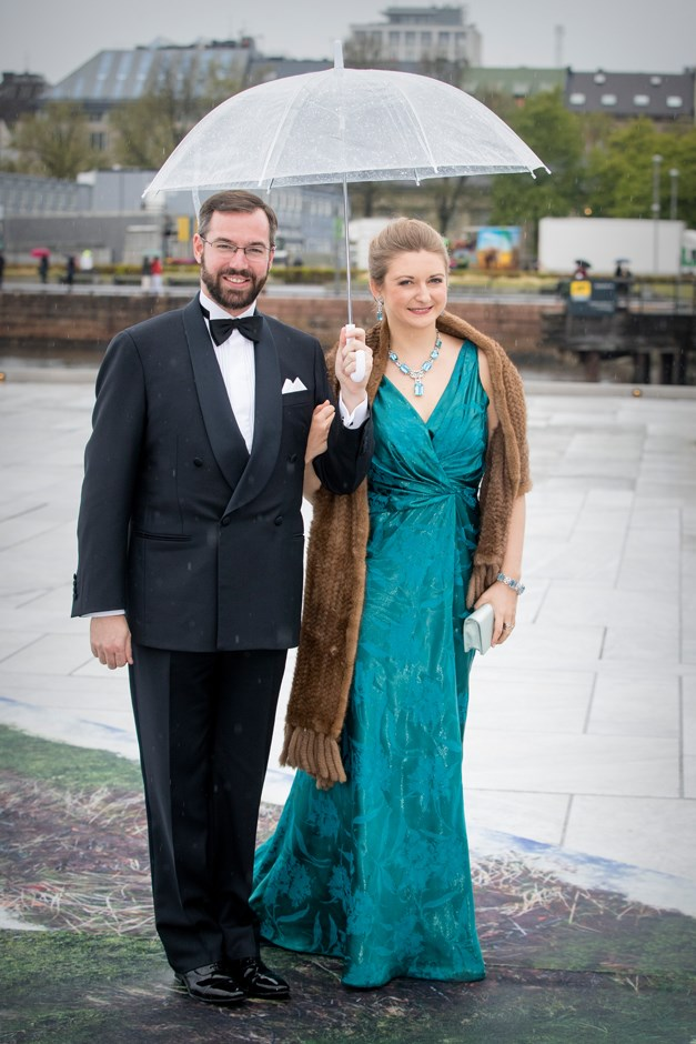 Hereditary Grand Duchess Stéphanie of Luxembourg, in Paule Ka, and Hereditary Grand Duke Guillaume.