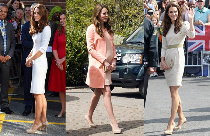 """The Duchess of Cambridge is a notorious outfit repeater, but she also repeats her shoes just as often! Here are five pairs of shoes that she can't live without.<p> <a href=""""https://www.lkbennett.com/Collections/Sledge-Dark-Pink-Patent-Closed-Courts/p/SCSLEDGEPATENTBlackBlack"""">L.K. Bennett 'Sledge' Pumps</a><p> Although she's already quite tall, Kate loves a good platform. These nude pumps by L.K. Bennett are always on constant rotation."""