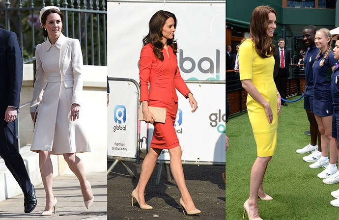 """<a href=""""http://www.rupertsanderson.com/us/malory-navy-suede.html#.WRVQtVWGNhE"""">Rupert Sanderson 'Malory' pumps</a><p> Kate is such a fan of the Malory pump, she has them in practically every colour, but is seen most often in the nude shade."""