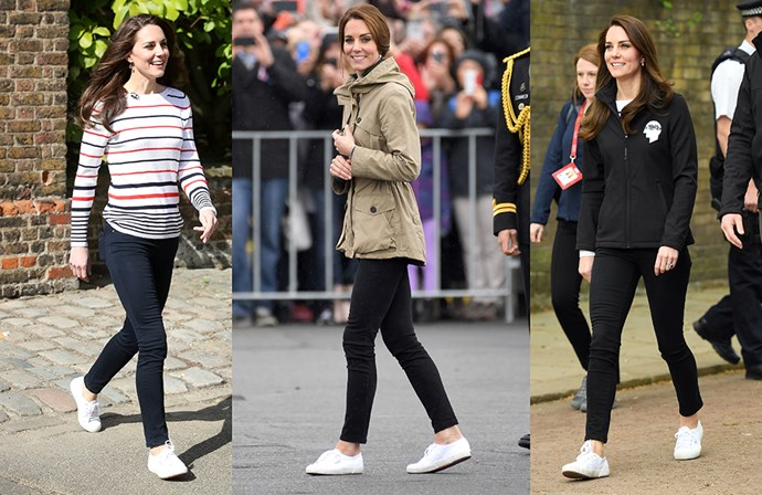 """<a href=""""https://www.superga.co.uk/item/23/Superga/Superga-2750-Cotu-Classic-White.html"""">Superga 'White 2750 Cotu Classic' sneakers</a><p> Even princesses need a good pair of sneakers—these are Kate's pick."""