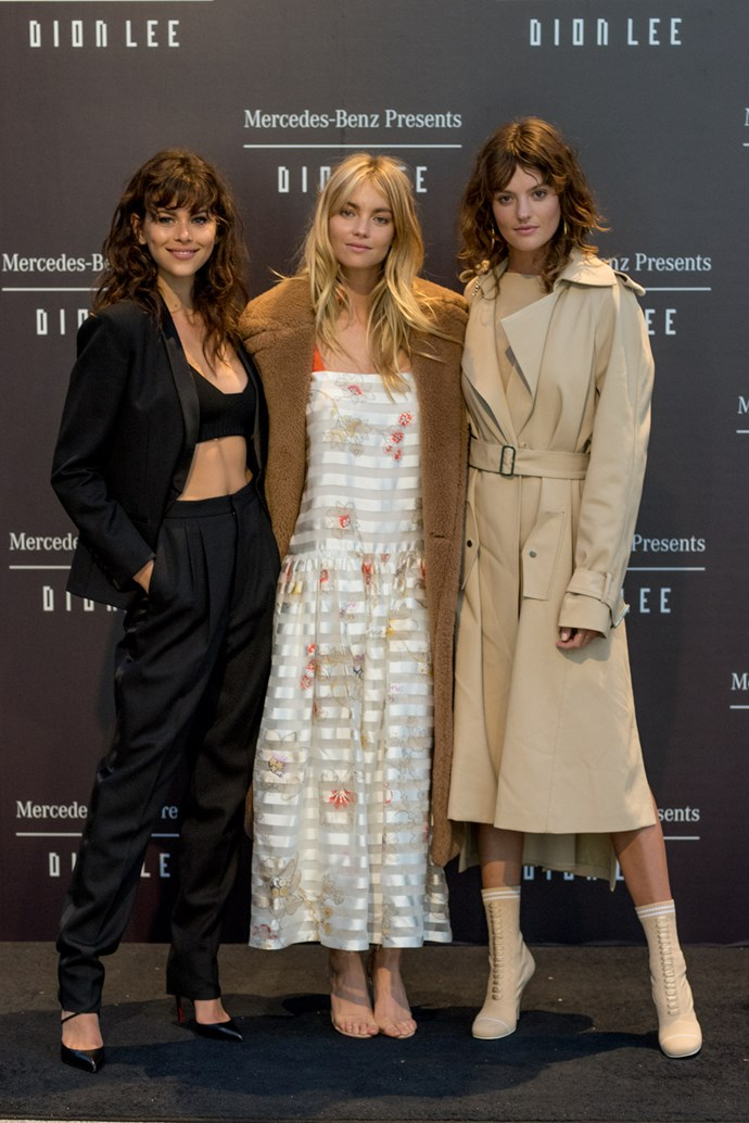 Georgia Fowler, Elyse Taylor and Montana Cox at the opening night dinner in honour of Dion Lee.