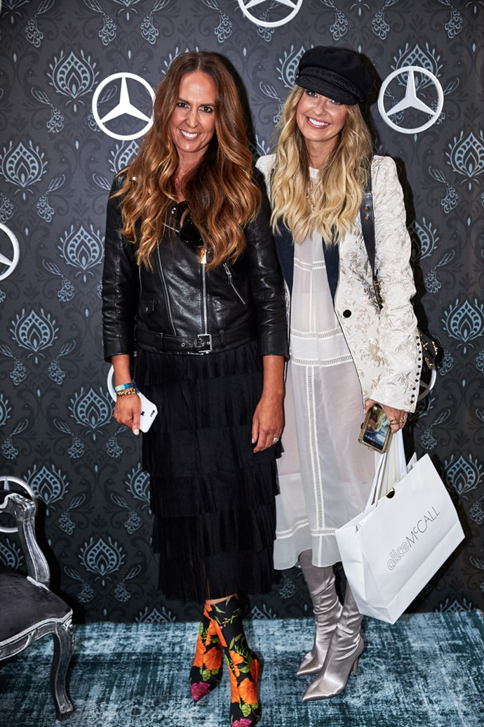 Tash Sefton and Elle Ferguson at the Mercedes-Benz Star Lounge at Carriageworks.
