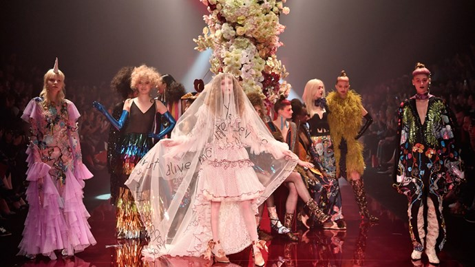 Romance Was Born brought Australian Fashion Week to a dramatic end last night, with designers Luke Sales and Anna Plunkett presenting a theatrical disco show involving feathers, nudity and a whole lot of colour.<br><br> Click through to see the entire collection.