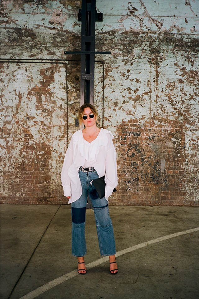 """<strong>Chloe Brinklow, Editor <a href=""""https://www.instagram.com/tomboybeauty/?hl=en"""">TOMBOY Beauty</a> & Online Beauty Contributor <em>Harper's BAZAAR</em> Australia</strong>. <br> <br> <strong>What's the beauty product you're into at the moment? </strong> <a href=""""https://www.priceline.com.au/lanolips-lanolips-101-ointment-multi-purpose-balm-15-g"""">Lanolips 101</a>. I use it as a lip balm, highlighter, and for glossy lids. <br> <br> <strong>Your fashion week breakfast is? </strong> Well, yesterday it was a long black and cornflakes ordered from Zanita's room service menu. <br> <br> <strong>If you were an emoji…  </strong> The dancing lady. She's always up for a good time. <br> <br> <strong>If you were an item of clothing…</strong> A pair of Levis—casual, comfortable, relatable, versatile. <br> <br> <strong>Fashion week in one word? </strong> FUN! <br> <br> <strong>Whose style do you admire? </strong> Carolyn Bessette Kennedy. <br> <br> <em>All photography: Ella Jane X TOMBOY Beauty. </em>"""