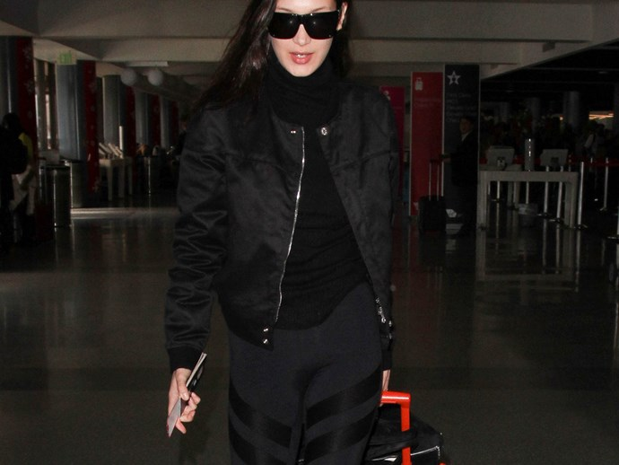 bella hadid luggage airport
