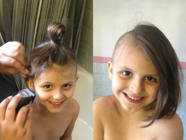 Mum Shaves Daughter's Hair At Her Request