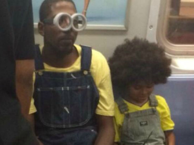 Minion Loving Father and Son Wear Matching Minion Outfits on Subway