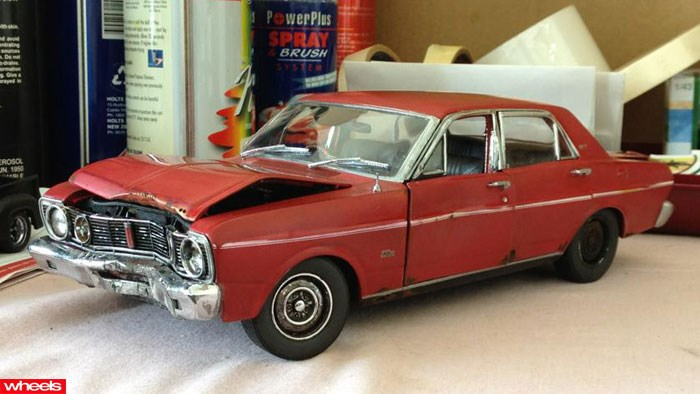 Diecast car models, Custom Wrecks, Scott Fuller, Aged scale car models, Wheels, Wheels magazine
