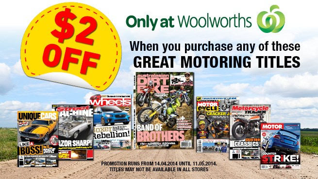 $2 off Motoring titles at Woolworths!