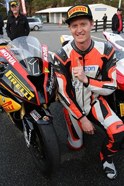 Glenn Allerton celebrates his third ASBK title